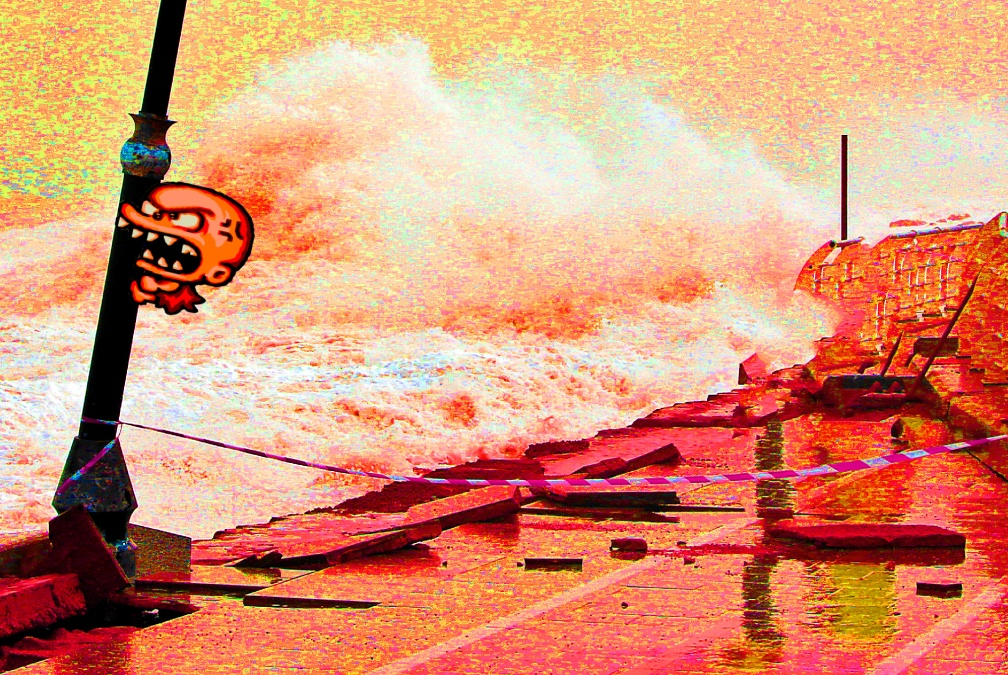 Bonk escapes from Beirut's seaside corniche which was damaged by strong and high waves in Lebanon.