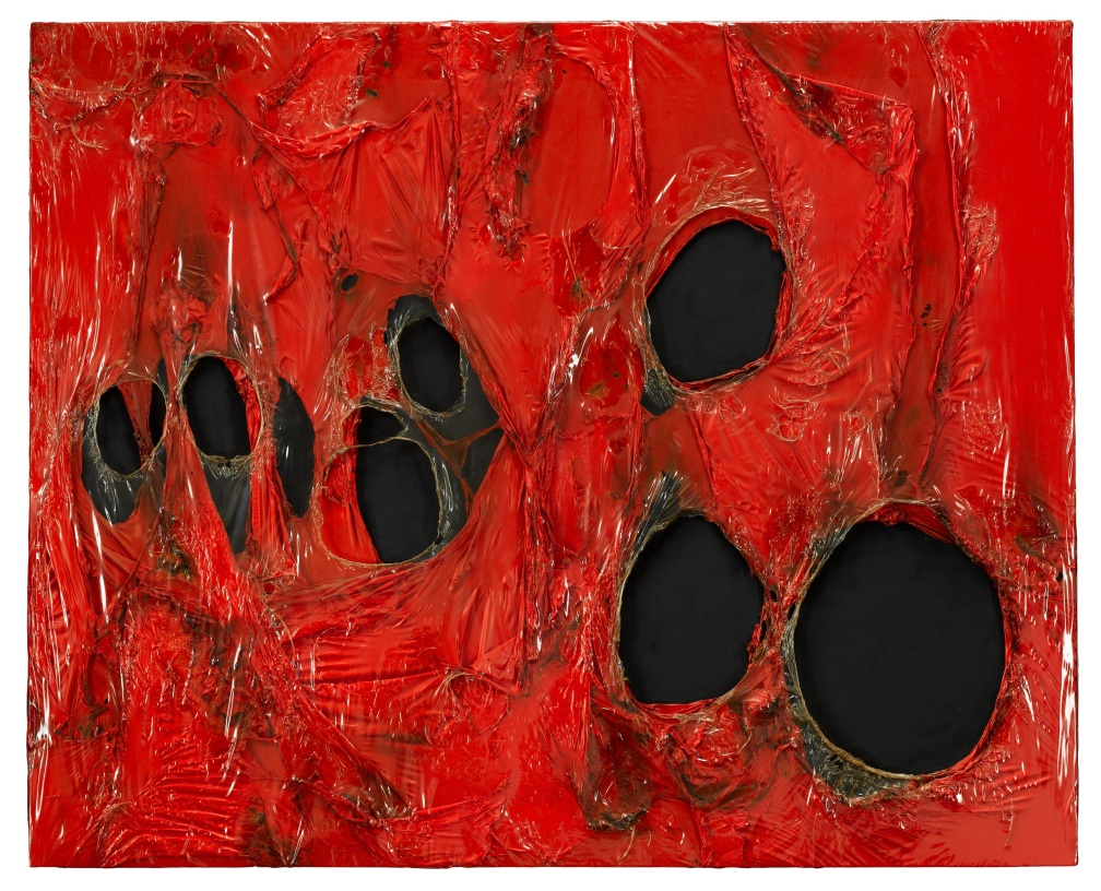 Alberto Burri, Rosso plastica M 2 (Red Plastic M 2), 1962 (detail). Burned plastic on canvas, 120 x 180 cm. Private collection © 2014 Artists Rights Society (ARS), New York / SIAE, Rome